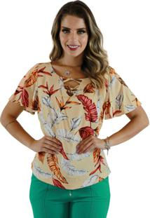 Blusa Mamorena Detalhe Frente Multicolorido