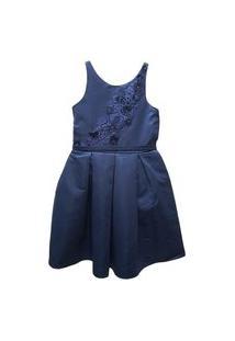 Vestido Festa Bordado Azul Marinho Petit Cherie 10 Azul