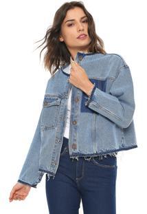 Jaqueta Jeans Forum Desfiada Azul