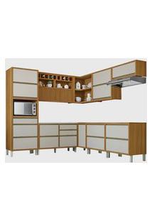 Cozinha 9 Peças Baronesa Ângulo 100% Mdf Freijó/Off White Nesher