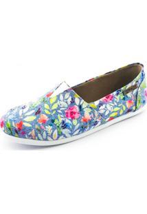 Alpargata Quality Shoes 001 Floral 214 Azul - Tricae