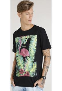 Camiseta Masculina Com Estampa De Flamingo Manga Curta Gola Careca Preta