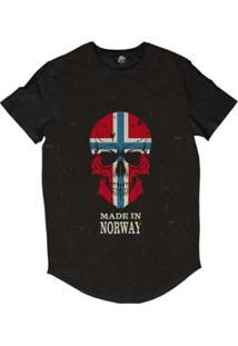 Camiseta Longline Bsc Caveira País Noruega Sublimada Masculina - Masculino
