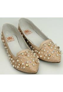 Sapato Bordado Perola E Cristal - Feminino-Bege