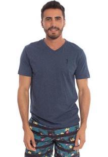 Camiseta Lisa 1/2 Malha Gola V - Jeans Aleatory Masculina - Masculino-Marinho