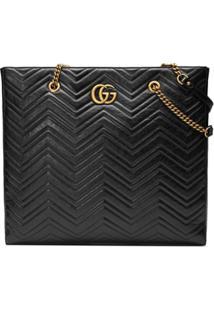 3351d5632 Gucci Bolsa Tote Matelassê 'Gg Marmont' Grande - Preto