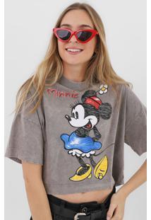 Camiseta Cropped Colcci Minnie Cinza - Kanui