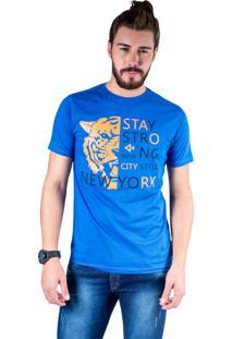 Camiseta Mister Fish Estampado Stay Strong Ney York City Azul Royal