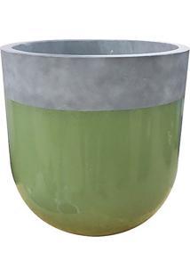 Vaso Envernizado & Rústico- Verde & Cinza- 57Xø55Cm