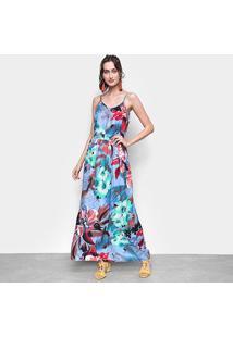Vestido Ms Fashion Longo Floral Alças - Feminino-Azul