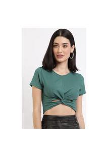 Blusa Feminina Cropped Canelada Com Nó Manga Curta Decote Redondo Verde Escuro