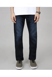 Calça Jeans Masculina Reta Com Bolsos Azul Escuro