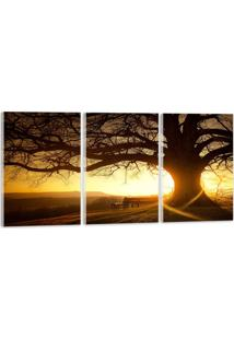Quadro Oppen House 60X120Cm Árvore Por Do Sol Decorativo Interiores