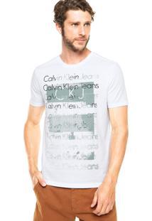 Camiseta Calvin Klein Jeans Estampa Logo Frontal Branca