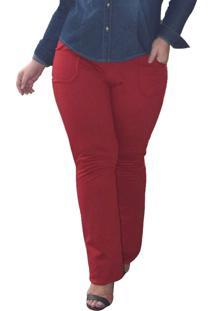 Calça Plus Size True E-Motion Moletom Corte Jeans Vermelho Longa Entrepernas 92Cm