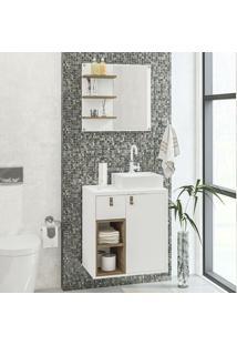 Armário De Banheiro 1 Porta 1 Gaveta Macaé Branco/Espelho - Politorno