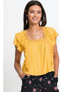 Blusa Com Babados Cropped Amarela