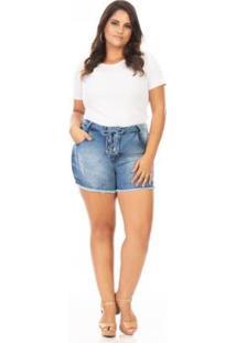Shorts Jeans Lace Up Plus Size Confidencial Extra Feminino - Feminino-Azul