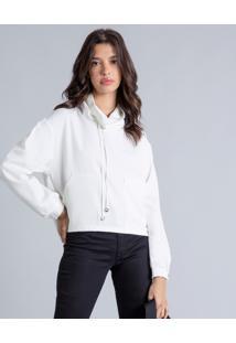 Blusão Gola Alta Amplo Branco Off White - Lez A Lez