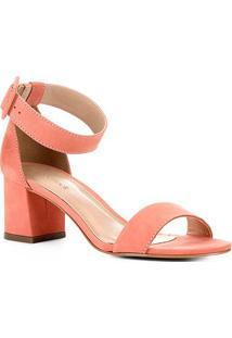 Sandália Shoestock Nobuck Fivela Feminina - Feminino-Coral