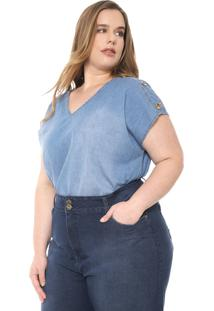 Blusa Jeans Cativa Plus Botões Azul