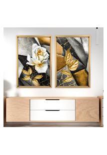 Quadro Com Moldura Chanfrada Abstrato Rosa Dourada Madeira Clara - Médio