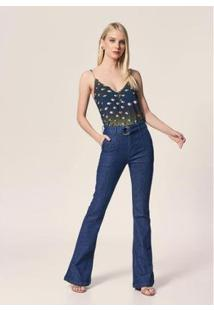 Calça Flare Jeans Recorte Frente Destroyer - Feminina - Feminino