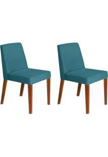 Conjunto Com 2 Cadeiras Infinity Veludo Azul