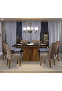 Conjunto Sala De Jantar Mesa Itália 6 Cadeiras Golden Dj Móveis Rustico Malbec/Pena Bege Marrom
