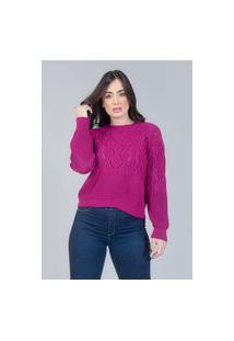 Blusa Charme Tricot Rendado Canelado Azul Pink