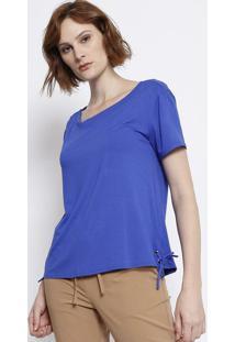 Blusa Lisa Com Ilhoses - Azul Royal - Malweemalwee