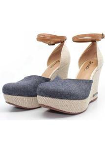 Sandalia Barth Shoes Espadrille Jeans Feminina - Feminino-Jeans Claro