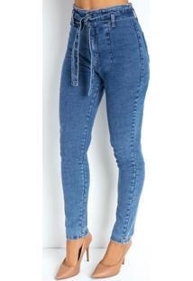 Calça Jeans Skinny Com Pregas E Faixa Sawary