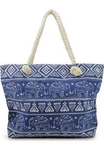 Bolsa De Praia Estampada Com Alça De Corda Jacki Design Azul Marinho Elefante - Tricae