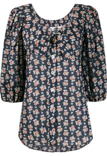 Liberty London Blusa Mangas 3/4 Com Estampa Floral - Preto