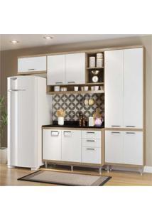 Cozinha Completa Berlin Com Balcão 9 Portas 3 Gavetas Multimóveis Argila/Branco