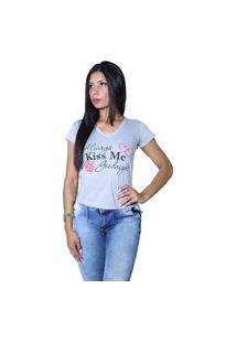 Camiseta Heide Ribeiro Always Kiss Me Goodnight Cinza Mescla