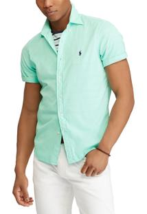 Camisa Ralph Lauren Manga Curta Custom Fit Oxford Verde