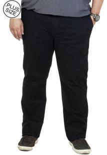 Calça Bigshirts Sarja Plus Size Chino - Preta
