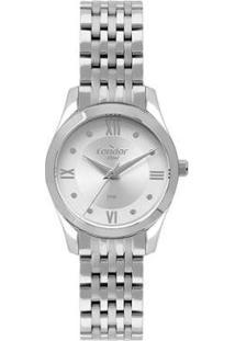 Relógio Condor Aço Feminino - Feminino-Prata