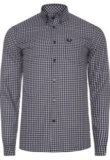 Camisa Masculina Three Colour Gingham - Preto