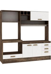 Cozinha Compacta Livia 4 Portas Com Tampo Naturalle/Branco - Fellicci