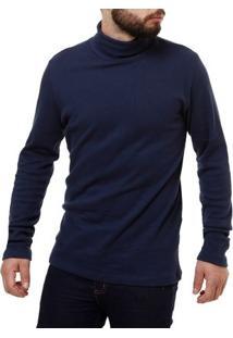 Camiseta Manga Longa Masculina Rovitex Azul Marinho