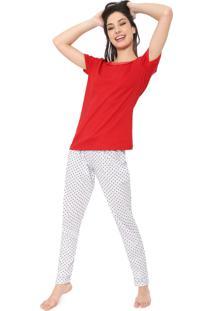 Pijama Bela Notte Poás Vermelho/Branco