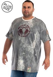 Camiseta Konciny Manga Curta Plus Size Cinza