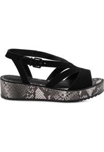 Sandália Mr. Cat Anabela Flat Form Feminino - Feminino-Preto