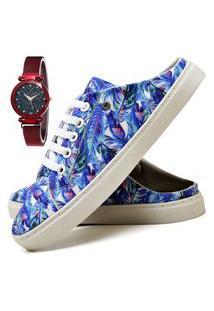 Tênis Mule Sapatênis Casual Fashion Com Relógio Chili Feminino Dubuy 313El Azul