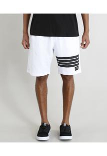 Bermuda Masculina Em Moletom Com Cós Contrastante Branca