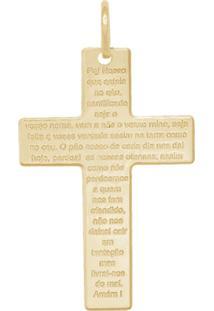 Pingente Prata Mil Cruz Com Oração Do Pai Nosso Dourado - Kanui