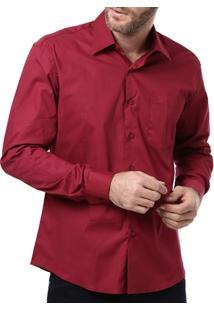 Camisa Manga Longa Masculina Bordô - Masculino